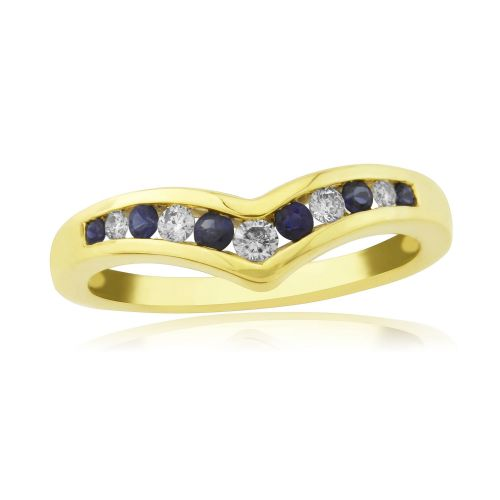 Wishbone Sapphire And Diamond Yellow Channel Set Gold Ring